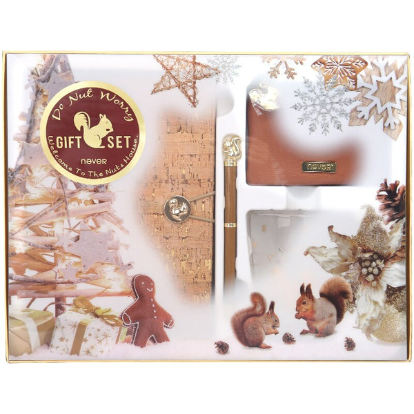 Never Squirrel Series Gift Stationery Set Christmas Notebook Pen Glass Cup Coin Purse Kit Business School And Office Supplies