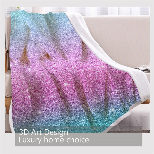 BlessLiving Colorful Glitter Blanket Girly Chic Blue Pink Pastel Colors Sherpa Flannel Fleece Blanket Trendy Bed Couch manta