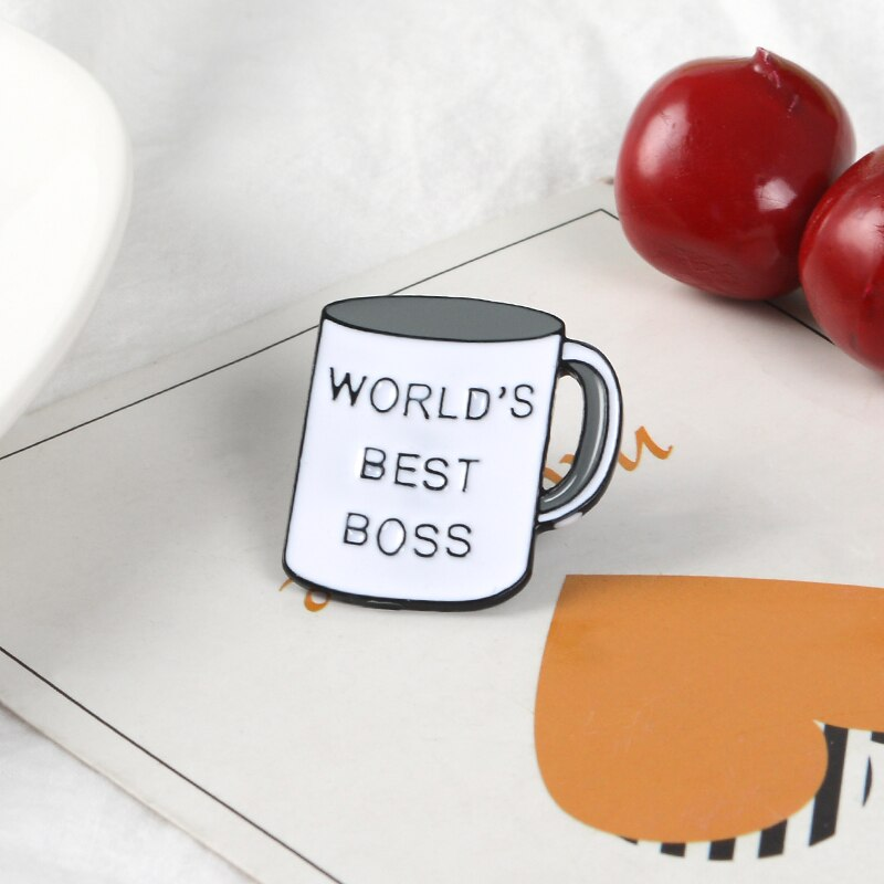 QIHE JEWELRY Boss Mug Pins Best Boss Ever Enamel Pins Coffee Cup Lapel Pins Brooches for Men Women Boss's Day Gift