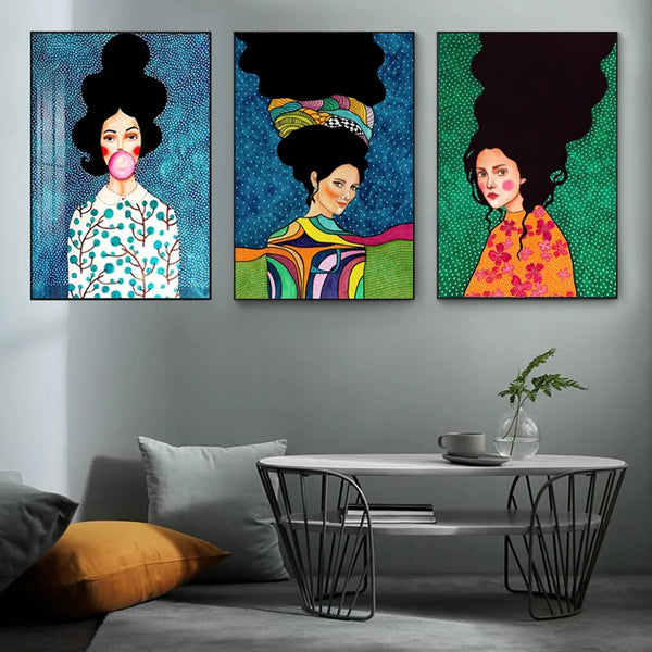 Nordic Modern Style Handdraw Characters Colorful Canvas Painting Poster Print Decor Wall Art Pictures For Living Room Bedroom
