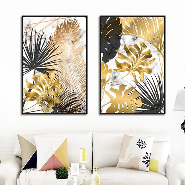 Scandinavian Style Poster Marble Golden Leaf Art Plant Abstract Painting Living Room Decoration Pictures Nordic Decoration