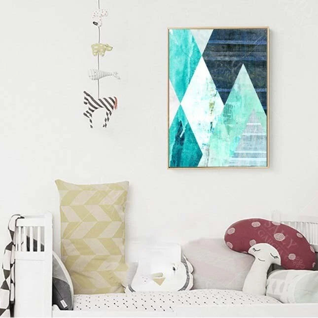 Abstract Geometric Turquoise Canvas Art Posters Canvas Prints Nordic Painting Wall Pictures for Living Room Home Decor No Framed