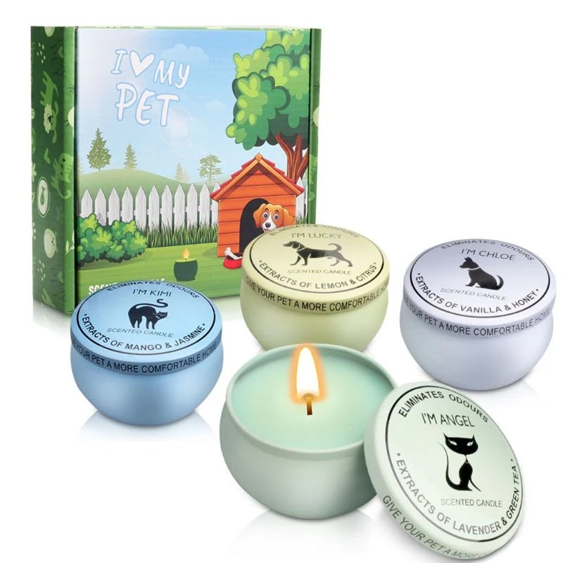 4pcs/set Natural Soy Wax Candle Pet House Odor Eliminator Non-toxic Scented Candles Lavender Lemon Eliminator Jun21