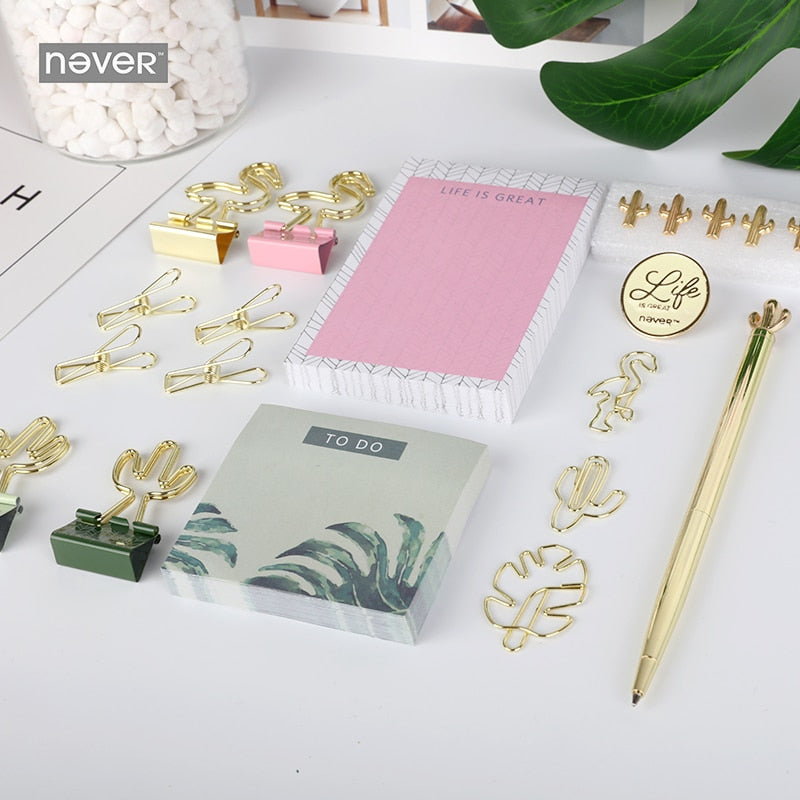 tropical vibes Stationery set bts gift Stationery stationary Paper clips binder clip pen memo pad office Accessories 2018