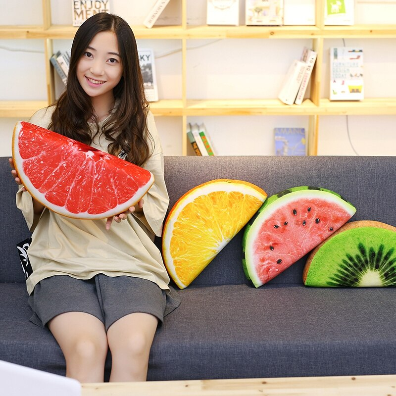 Creative Simulation Summer Cool Watermelon Fruit Pillow Ice Cream Orange Iemon Oval Cushions Sofa Throw real life Pillow