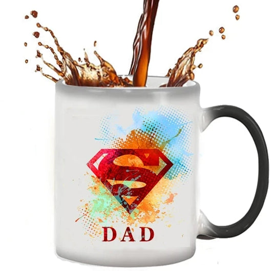 Dad Is Superman Magic Coffee mug color changing ceramic mug cup best gift mug free shipping