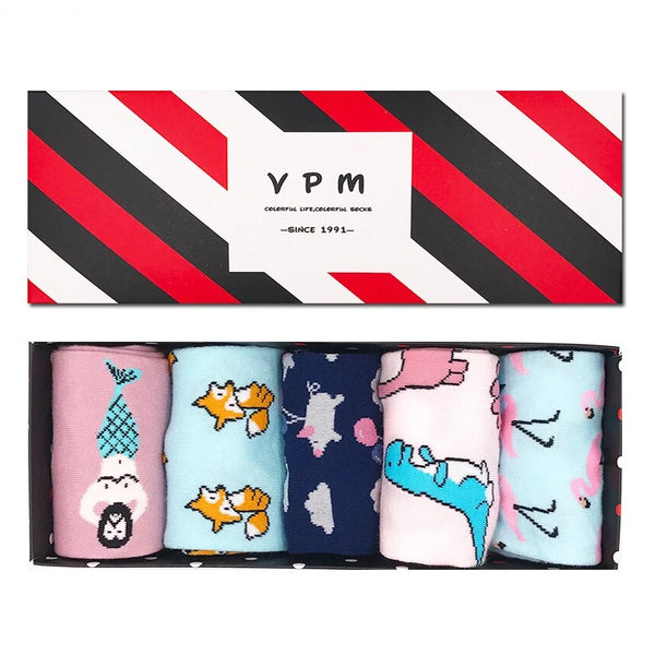 VPM GIFT BOX Winter Autumn Warm Women Socks Colorful Cartoon Cute Animal Dog Cat Fox ET  Lovely Funny Socks (5 pairs / lot )