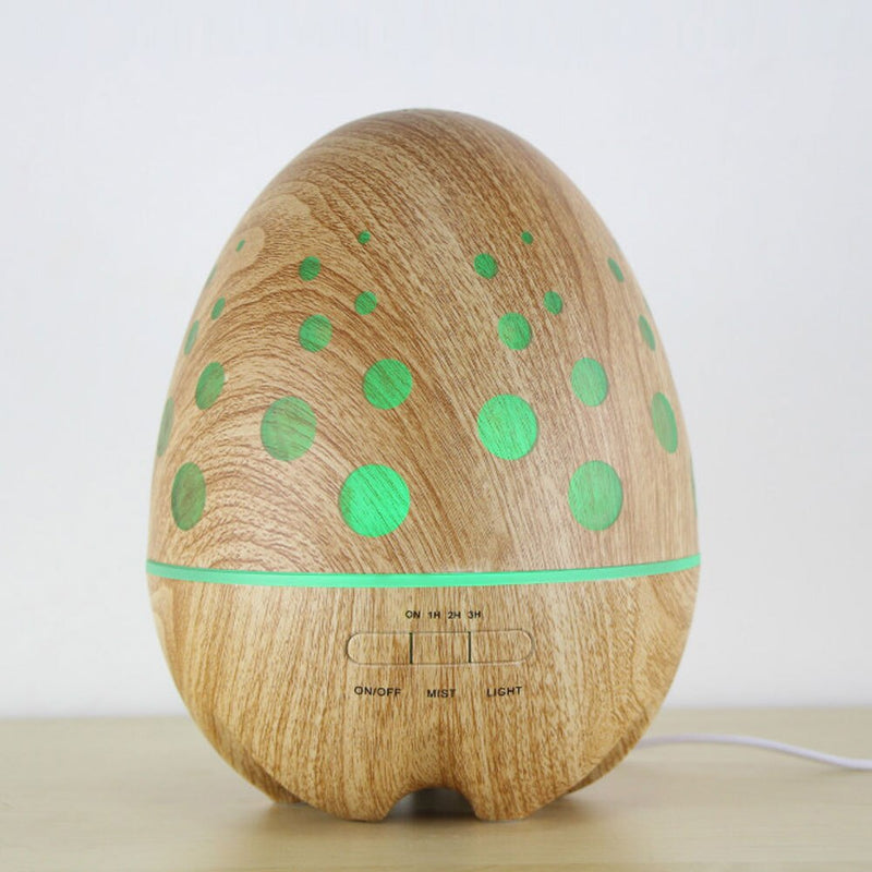 14W 400ML Ultrasonic Air Humidifiers Wood Grain Egg Design Essential Oil Aroma Diffuser Rainbow Light Fragrance Difusor For Home