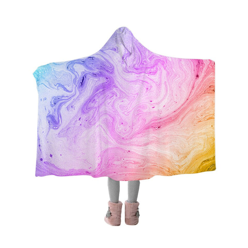 BlessLiving Colorful Marble Hooded Blanket Pastel Pink Blue Purple Sherpa Fleece Throw Blanket for Adults Kids Wearable Blanket