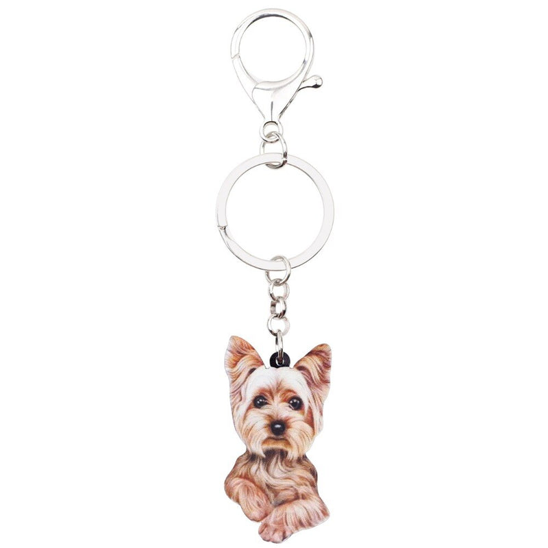 WEVENI Acrylic Anime Cute Yorkshire Terrier Dog Key Chains Keychain Women Girl Female Holder Car Charms Animal Jewelry 2018