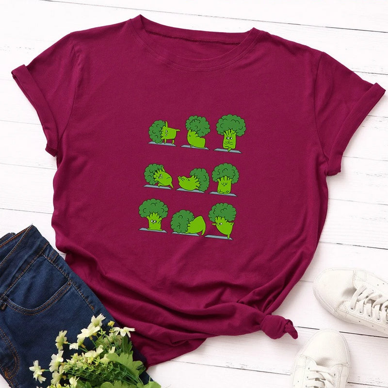 SINGRAIN Funny Broccoli Cotton Tee Shirt Women Summer Vegetables Plus Size Basic Tops Multicolor Harajuku Vegan Print t shirt