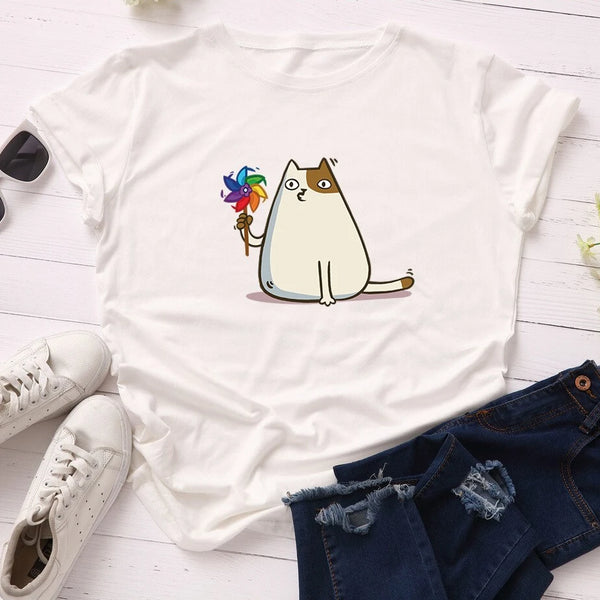 SINGRAIN Cartoon Cat Basic Shirt Tee Women Summer Harajuku Animal T-shirt Short Sleeves Casual Oversized Cotton Print t shirt