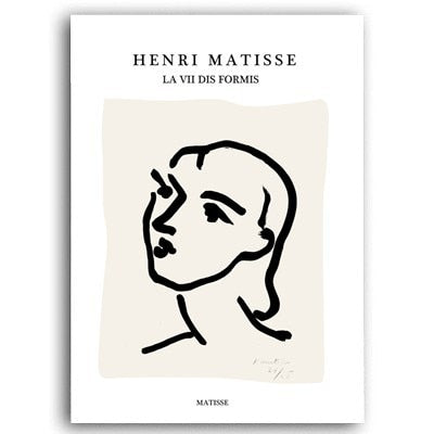 Abstract Matisse Line Figure Canvas Art Prints - No Borders or Frame