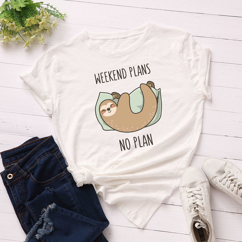SINGRAIN Funny Sleepy Sloth Women T-shirt New Large Size Animal Basic Tops Loose Cute Cartoon Tees Summer Cotton Print t shirt