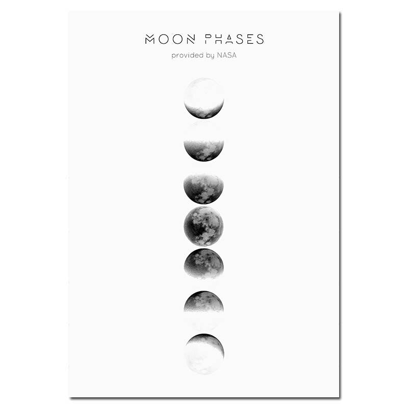 Moon Phase Canvas Art Prints - No Borders or Frame