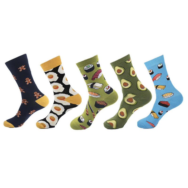 5 Pair Men's Colourful Novelty Socks In A Box