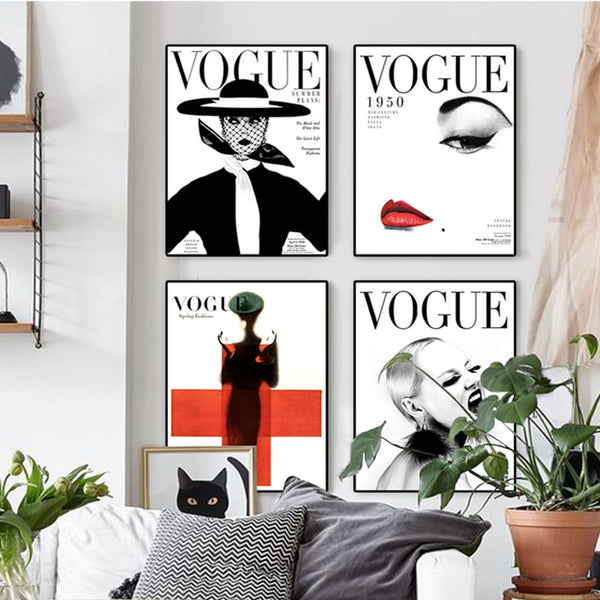 Nordic Poster Modern Art VOGUE 1950 Vintage Magazine Painting Fashion Wall Art Canvas Wall Pictures for Living Room Home Decor