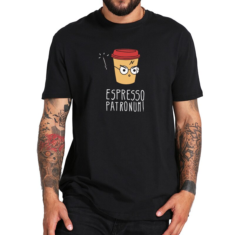 EU Size Espresso Patronum T-shirt Coffee  Joke Humor Cotton Printed Tee Black Spring Summer High Quality Tops