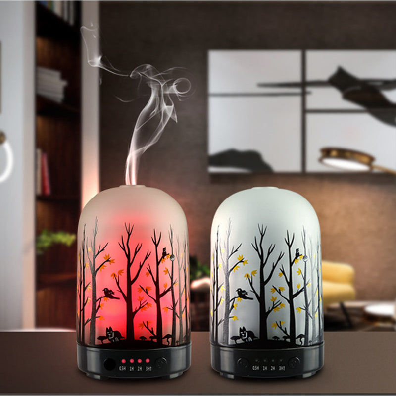 Glass Aroma Diffuser  Essential Oil Aromatherapy Machines Fragrance Ultrasonic Cool Mist Humidifier with 7Color LED Lights 100ml