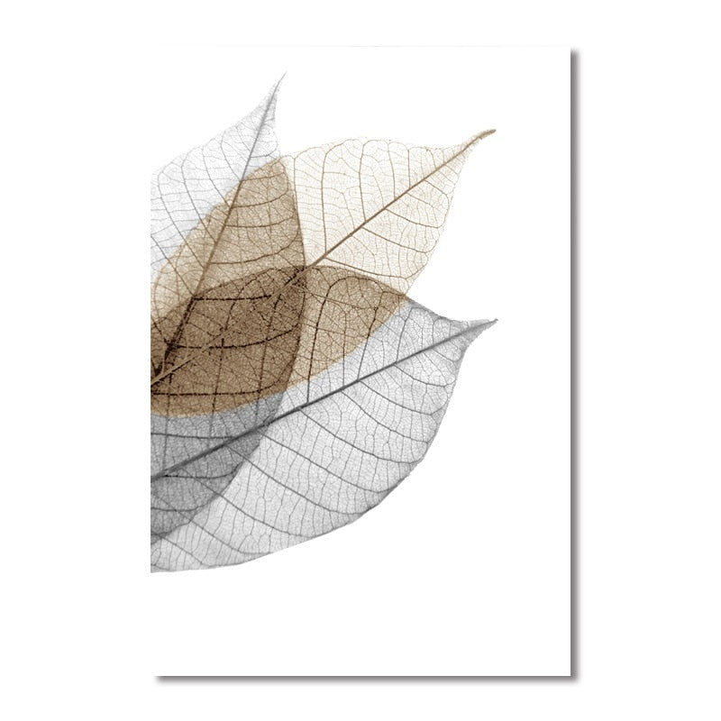 Fresh Stencil Leaves Canvas Art Prints - No Borders or Frame