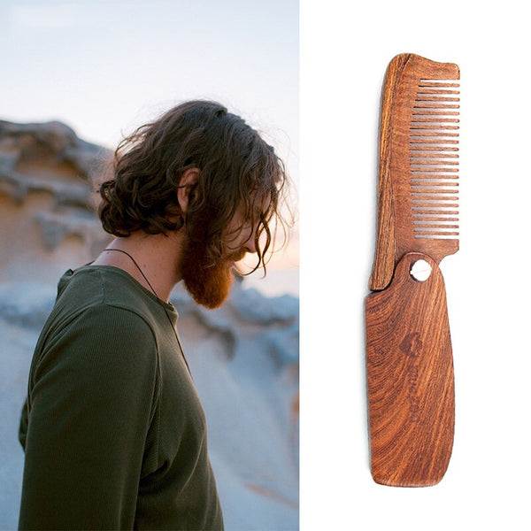 Men Moustache Beard Black Gold Sandalwood Portable Folding Anti-Static Comb with PU Bag Pocket Wood Comb