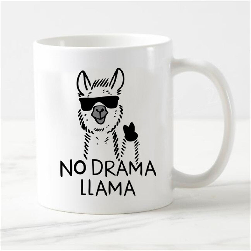 Funny No Prob-Llama Magic Mug Novelty No Drama Llama Coffee Mug Tea Cups Humor Joke Creative Ceramic Gift Cool Color Change 11oz