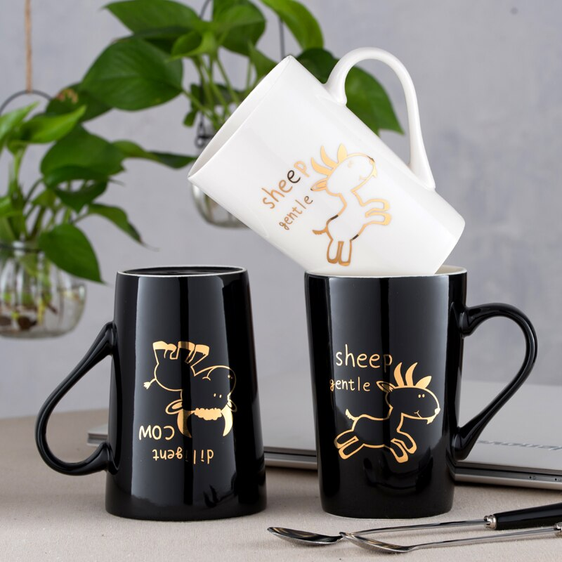 SPSCO Creative Chinese Zodiac Ceramic Mug Cartoon Mugs Coffee Mug Tea Cup With Lid and Spoon for Birthday Christmas Gift
