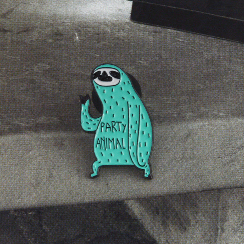 QIHE JEWELRY Sloth pin Party animal lapel pins Badges Brooches for women girls Kawaii Funny Sloth Animal Jewelry Accessories