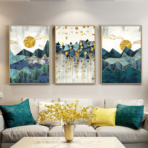 Abstract Painting Geometric Mountain Colorful Landscape Wall Art Canvas Painting Golden Sun Art Poster Wall Picture No Framed