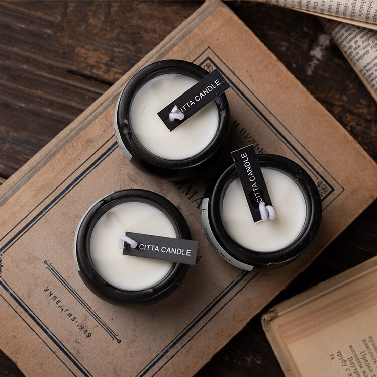 Nordic style Black Ceramic Pots Aromatherapy Candles Hand Made Frest Scent Soy Wax Natural Style Scented Candles Home Decoration