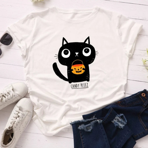 SINGRAIN Fashion 100% Cotton Women T Shirt Halloween Print Tops Pumpkin Lantern Cute Cat Short Sleeves S-5XL Large Size T-Shirt