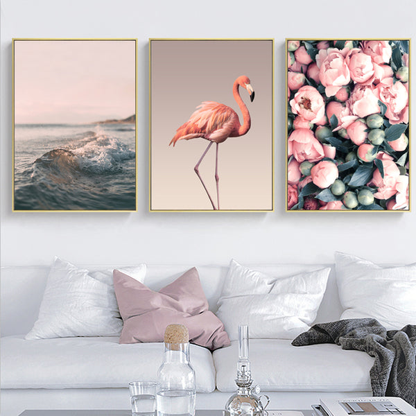 Romantic Pink Peony Flamingo Love Wall Art Pictures Canvas Paintings Nordic Posters Prints Bedroom Home Decorations No Frame