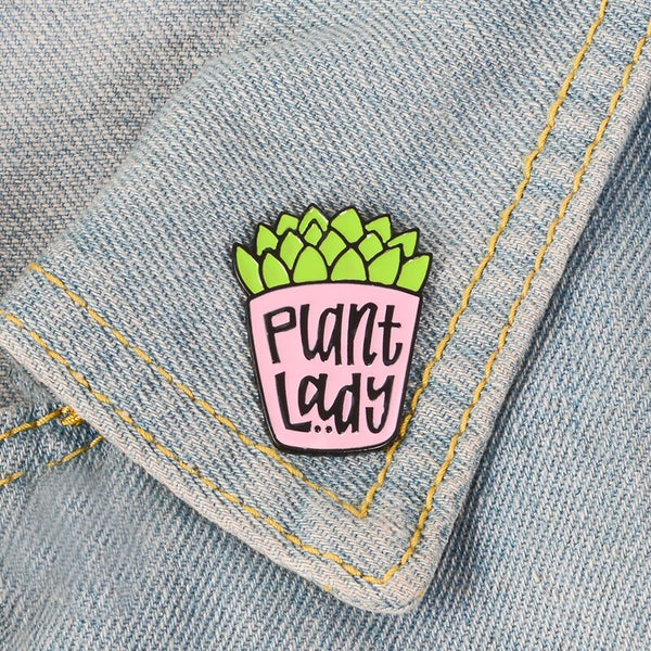 QIHE JEWELRY Potted Plant pins Succulent brooches Badges Lapel pins Plant jewelry Gift for Plant lover Women Girl