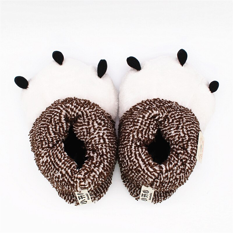 Winter Warm Soft Plush Indoor Floor Home Slippers Men Women Children Christmas Style Funny Monster Dinosaur Claw House Shoes Man