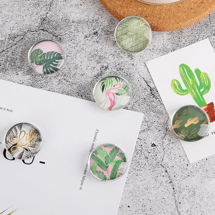 Plants Series glass magnets thumb tack Magnetic Stickers magnets Message Holder for Whiteboard office accessories Supplies