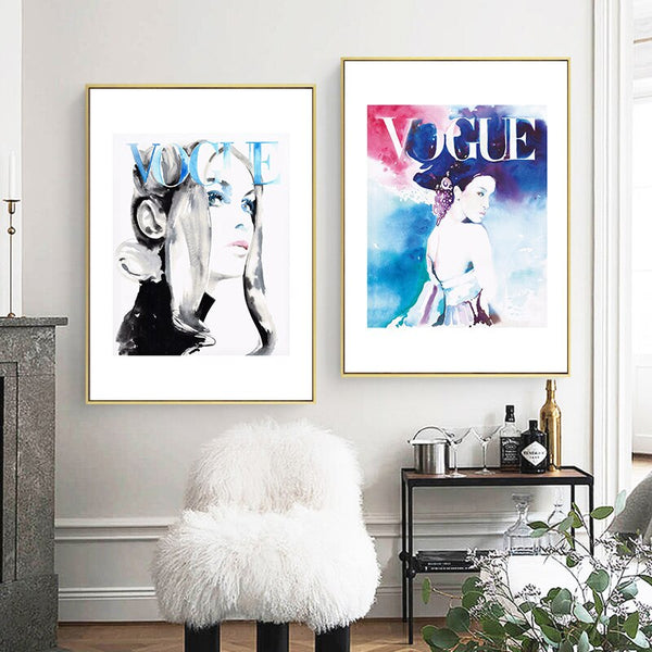 Watercolour Fashion Girl Canvas Painting Wall Art Posters and Prints Nordic Decoration Wall Pictures for Living Room Salon Decor