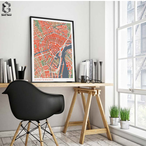 16 Famous City Classic Map Poster and Print Wall Art Canvas Painting Paris Copenhague Madrid Map For Living Room Home Decor