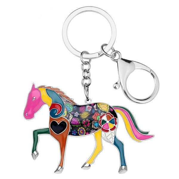 WEVENI Enamel Shine Horse Key Chain For Women Handbag Charm Key Ring Man Car Keychain 2017 New Jewelry Accessories
