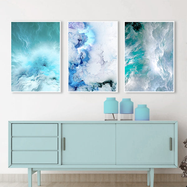 Modern Abstract Canvas Poster Blue Marble Wave Wall Art Painting Nordic Posters and Prints Wall Pictures for Living room Decor