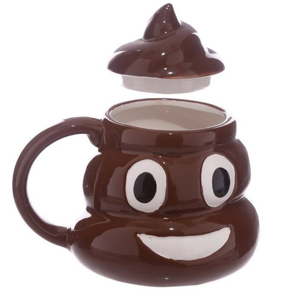 VILEAD Funny Ceramic 3D Poo Mug Cartoon Smile Coffee Milk Poop Mug Water Cup With Handgrip Lid Tea Cup Office Drinkware