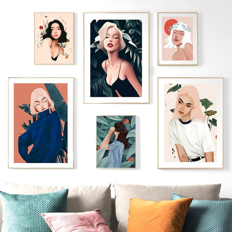 Fashion Modern Girl Oil Painting Vintage Wall Art Canvas Painting Nordic Posters And Prints Wall Pictures For Living Room Decor