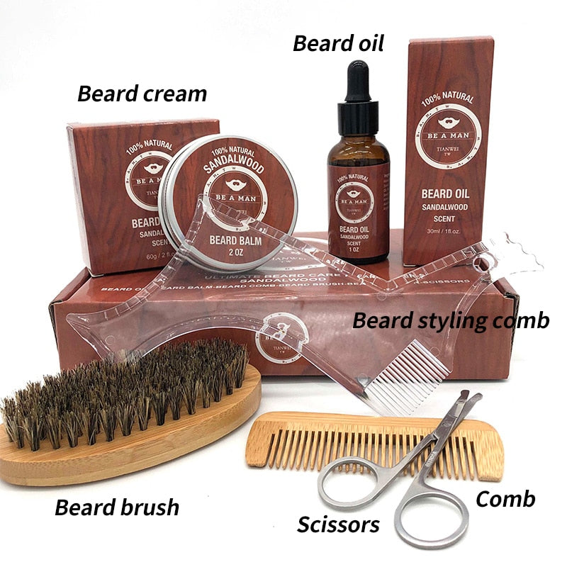 6pcs Gentlemen's Beard Grooming Care Kits