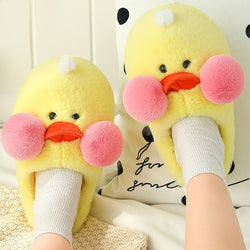 Women's Slippers Home Flock Fashion Duck Pattern Cute Slippers Women TPR Non Slip Fur Slippers Woman Short Plush