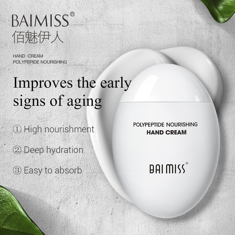 BAIMISS Peptide Moist Hand Cream Avocado Extract Nourishing Anti-Aging Hand Skin Care Cream Moisturizing Whitening Repair Hydra