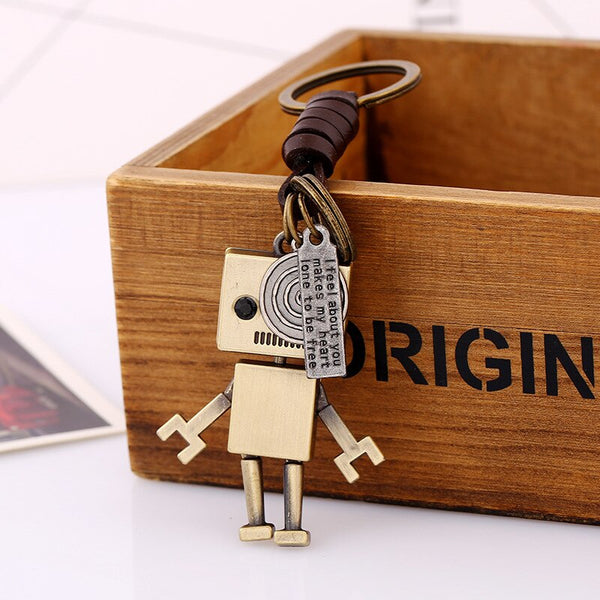 ZG Creative Gifts Robot Keychain Handbags Pendant Genuine Leather Key Chains Key Ring Holder Key Accessories for Women Men