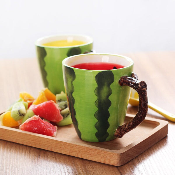 300ml Creative Fruit shape Ceramics Hand Painted Mug Coffee Milk Tea Breakfast Handle Cup Drinkware Nice Gift