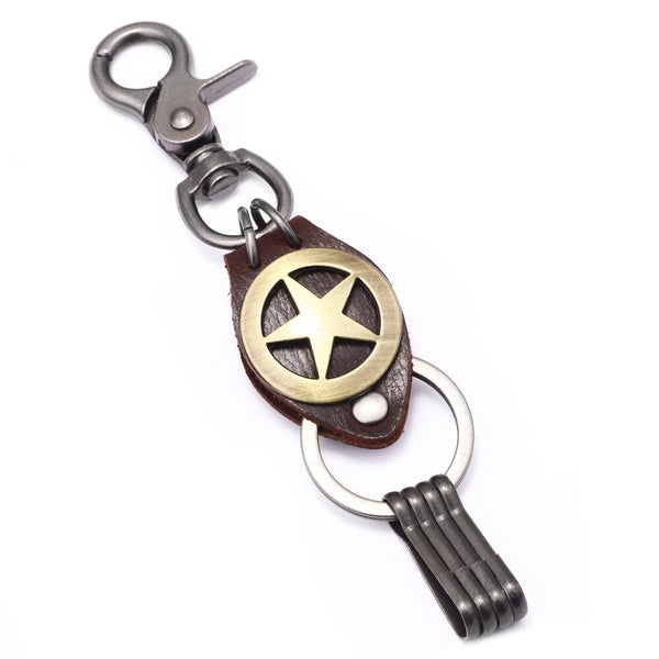 Pentagram Leather Key Ring