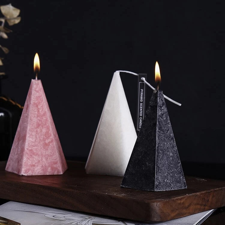 1PCS Northern Europe Geometric Conical Scented Candle for Party Festival Birthday Wedding Bedroom Decor