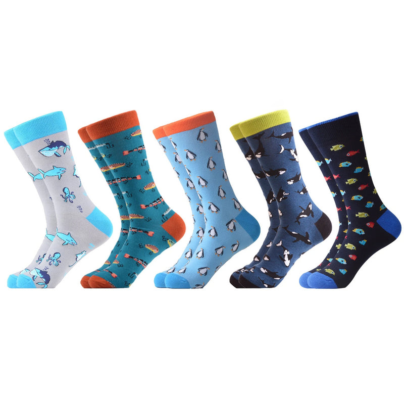 SANZETTI 5 Pairs/Lot New Style Men's Casual Combed Cotton Happy Crew Socks Multi Fishs Pattern Party Gifts Creative Dress Socks