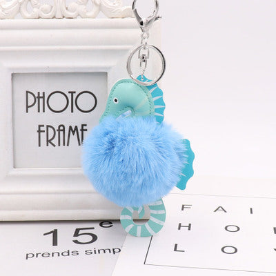 Fluffy PU Leather Seahorse Key Ring